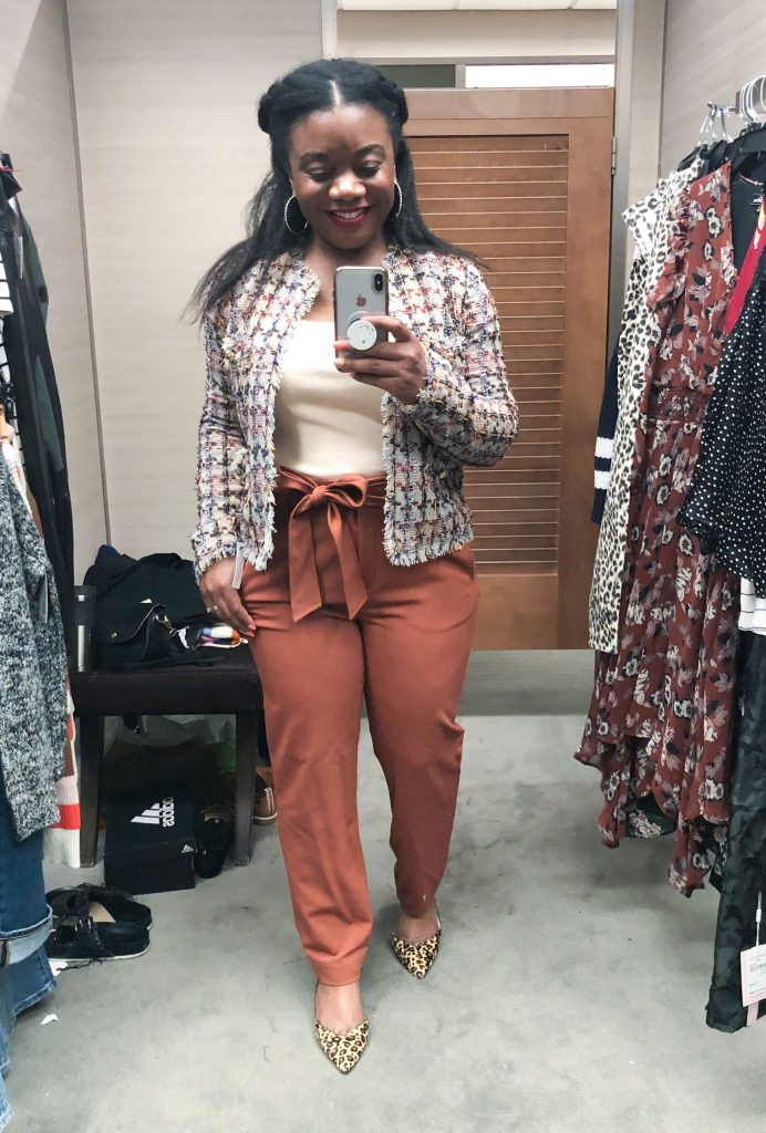 Seriously, these high-waist, tie waist slacks (rust-colored & black) are perfect for work. Strong start to the Anniversary Sale & every work day of the week.