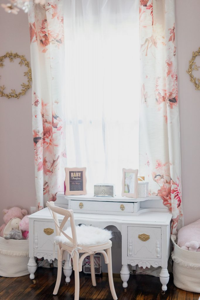 "Muted pinks & nude tones + mature floral patterns are the perfect ""compromise"" in this kids' bedroom. Magic up a dreamy nook with these tips."
