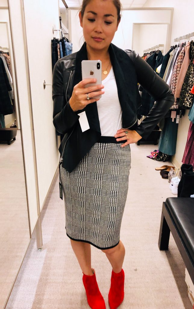 3 fast favs from the Anniversary Sale are stunning jeans, pointy toe & animal print booties, & a chic Vince Camuto skirt for work or play.