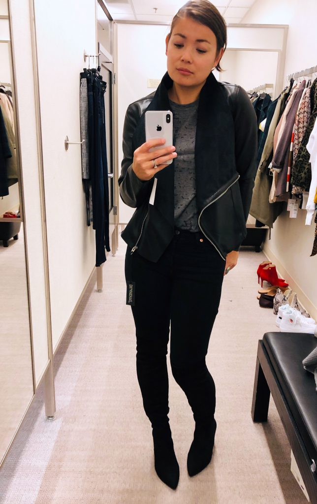 3 fast favs from the Anniversary Sale are these a Vegan leather jacket, pointy toe & animal print booties, & a chic Vince Camuto skirt for work or play.