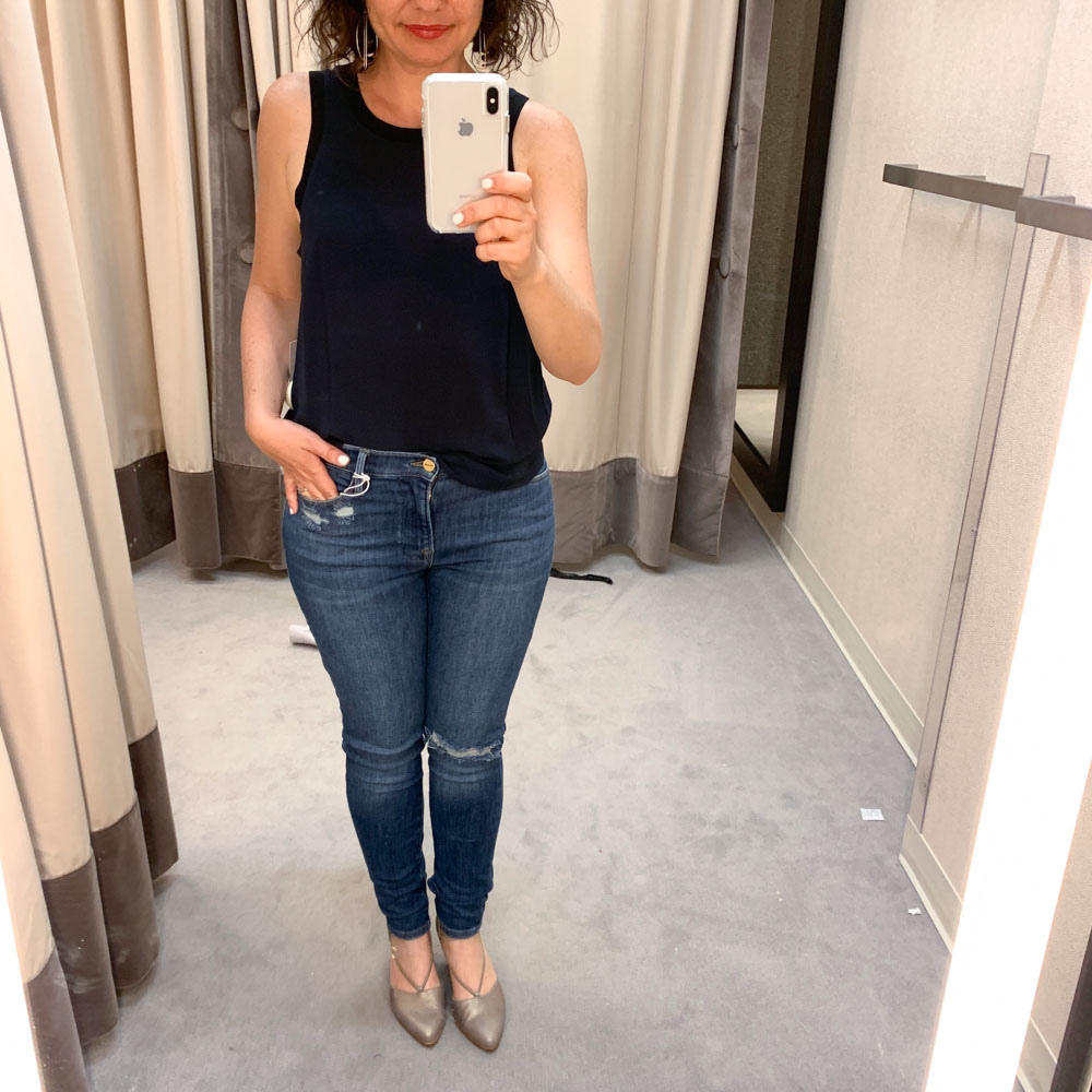 "Flares & boot cut denim may be ""trending"" but we're crushing on skinny jeans this Anniversary Sale. Shout out to FRAME (the gray skinny crops are good too)."
