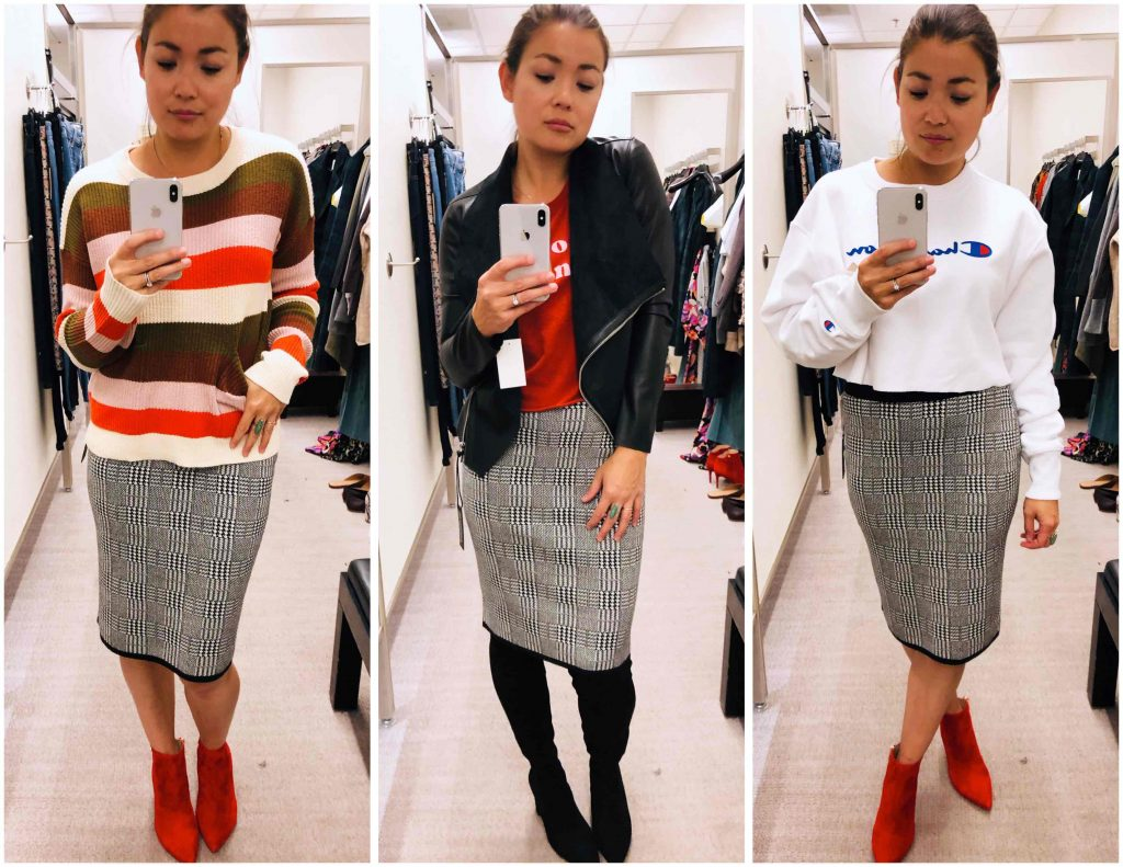 3 fast favs from the Anniversary Sale are these Madewell high-rise jeans, point-toe & animal print booties, & a chic Vince Camuto skirt for work or play.