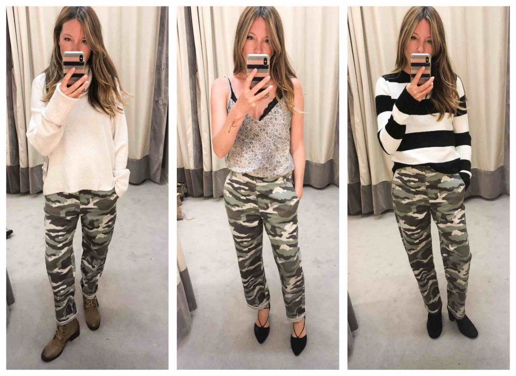 Sassy camo pants we can don with silky camis, Sorels & Birkenstocks for any season? YUP. We're on it. These J. Crew — so freaking cool.