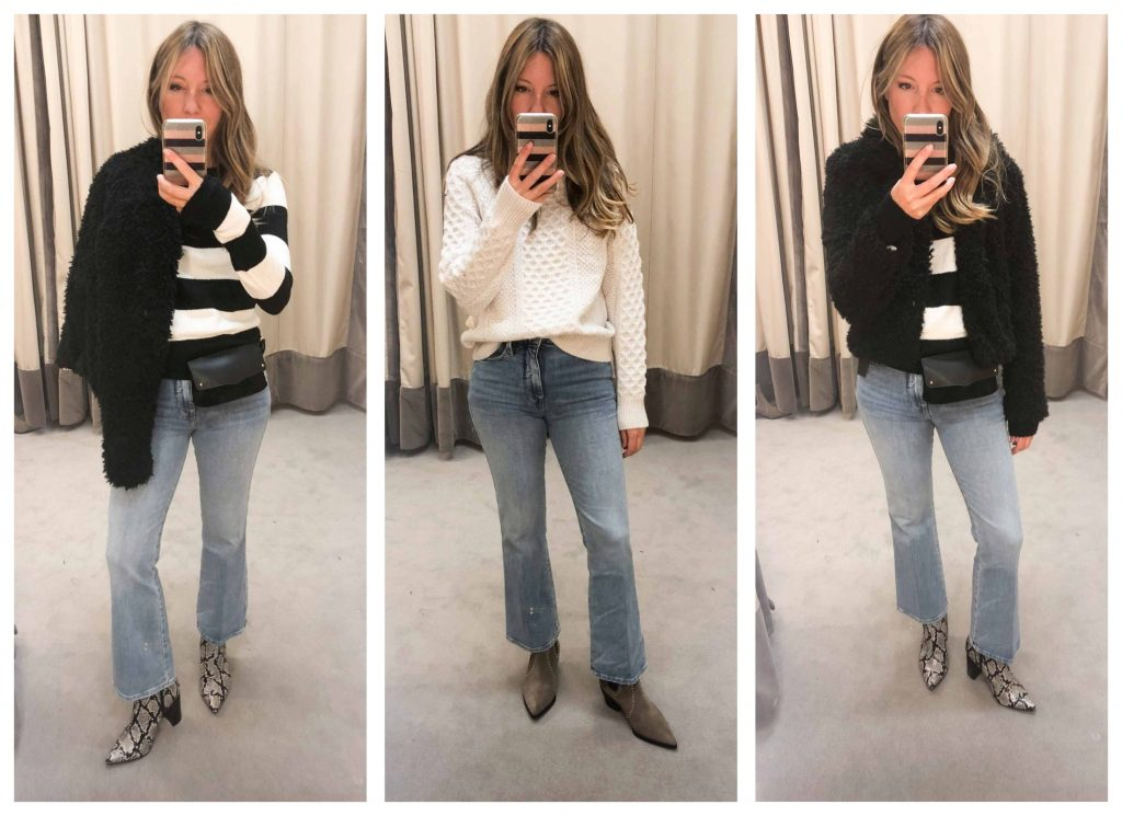 The answer to how to wear flare jeans (bell bottom & cropped) & what shoes to wear them with — inside. Plus our Anniversary Sale #DressingRoomSelfies.