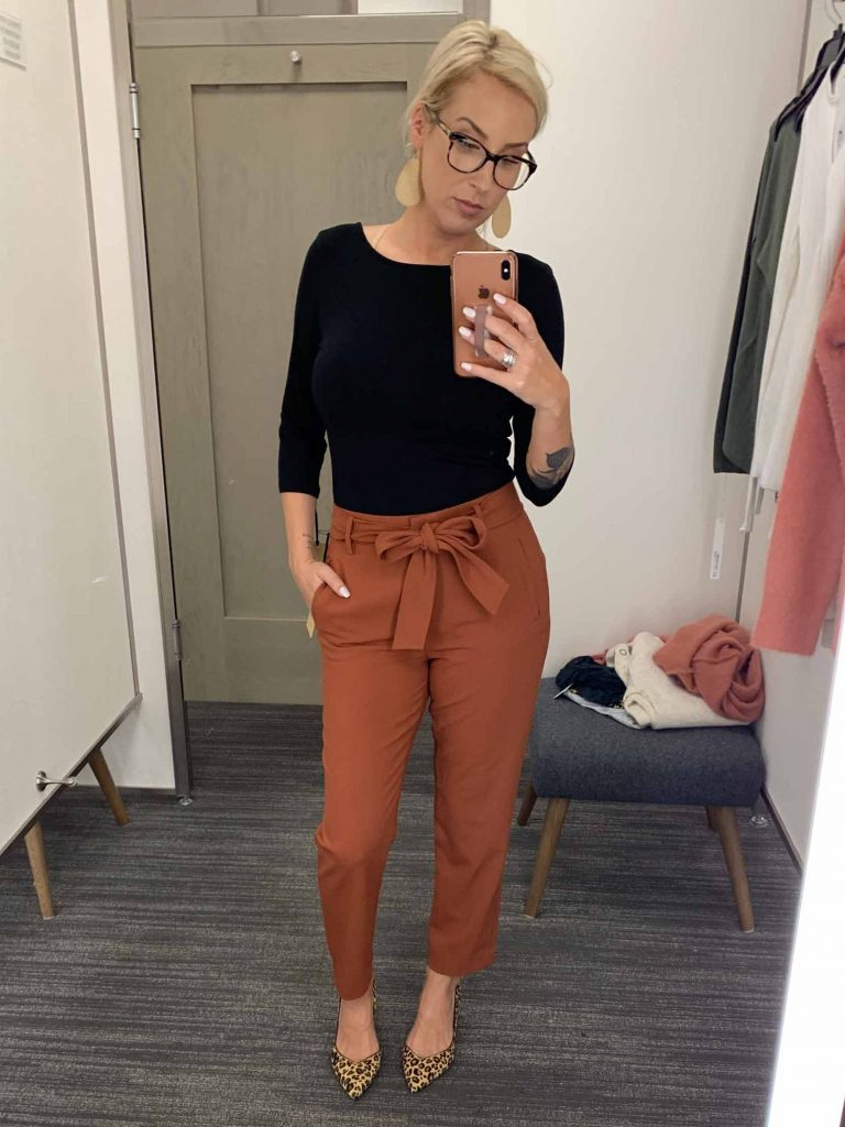 Call them orange if you must, the Halogen rust-colored twill pants, dressed up & dressed down are an Anniversary Sale must-have. We're stoked.