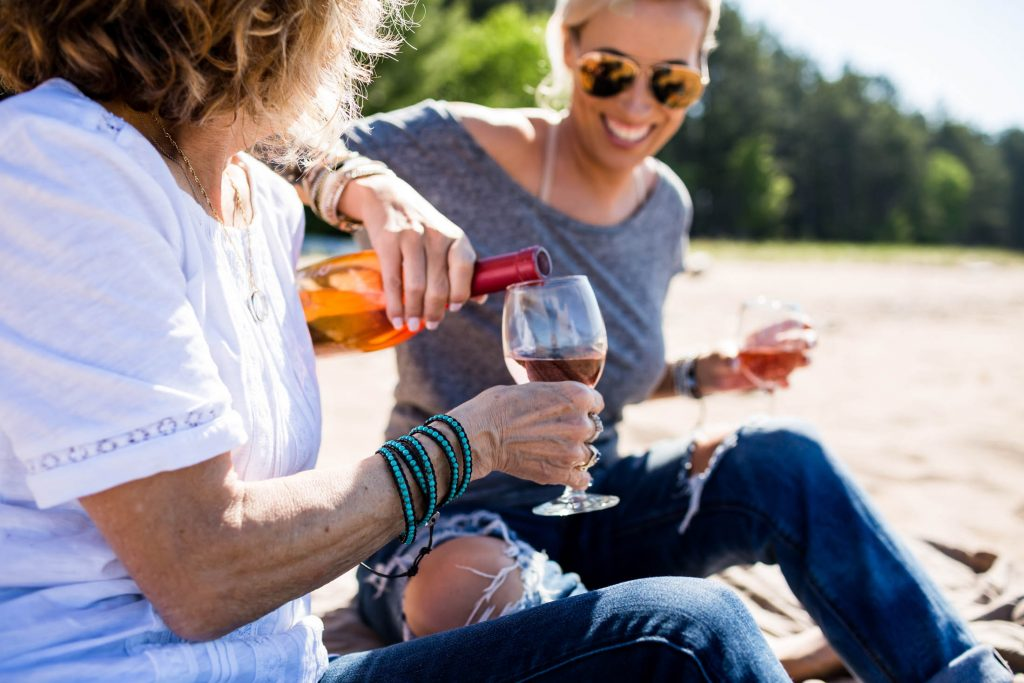We're summoning our best days at the beach. Wine, cute Victoria Emerson wrap bracelets & of course quality time with mom. Here's to summer & family.