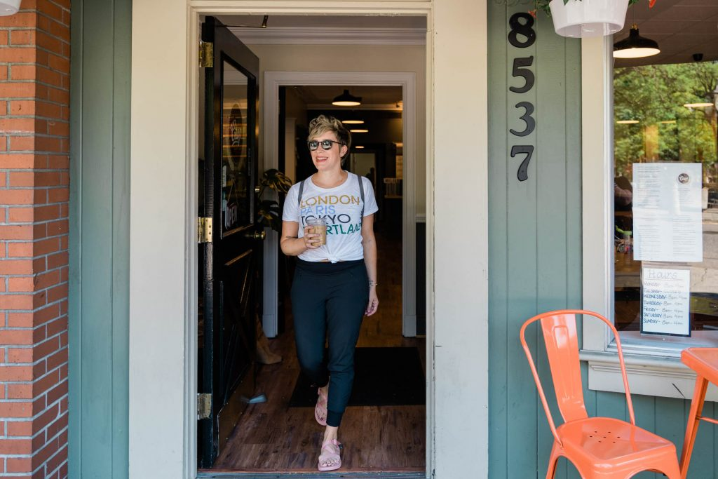 Casual outfits are best when they're easy #amiright? Check out this graphic tee + lightweight joggers + sporty-chic sandals. A simple summer win.
