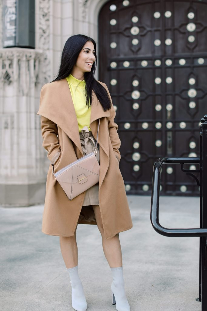 We found a wrap coat SO GOOD, we're styling it streetstyle, neon (for fall) & easy-yet-chic. This camel jacket has that trench coat vibe...YES.