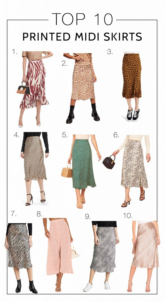 An easy way to sex up our wardrobes, esp. from summer to fall, is w/ silky midi skirts. We found 10 pretty printed midis (animal print, florals) — inside.