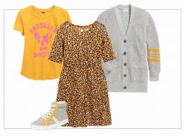 With picky kids in mind, we're eyeing a bright girls' capsule wardrobe that's fun & not too sparkly. Yellow, leopard & neutrals. All heart eyes, right here.
