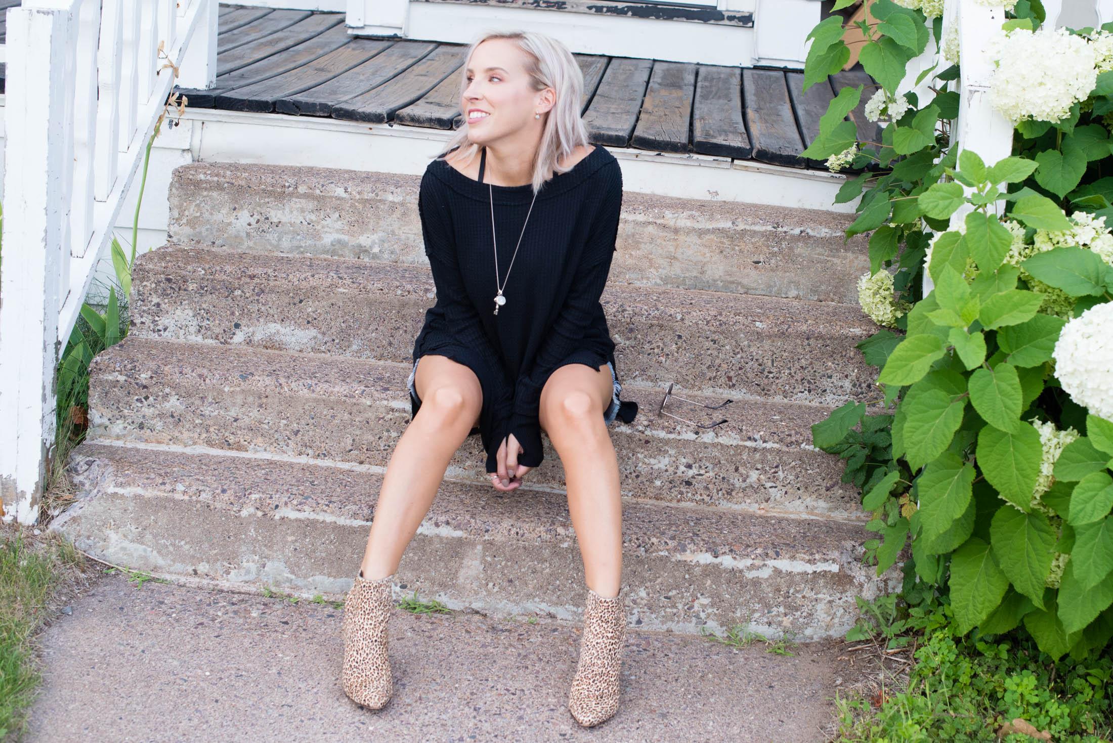 denim dress with booties