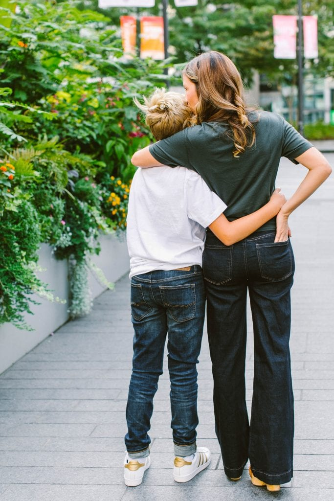 Tween boys wearing & styling grown man jeans...we can't. But we're here, rockin' American Eagle mom jeans & men's denim. Our kids really do grow.