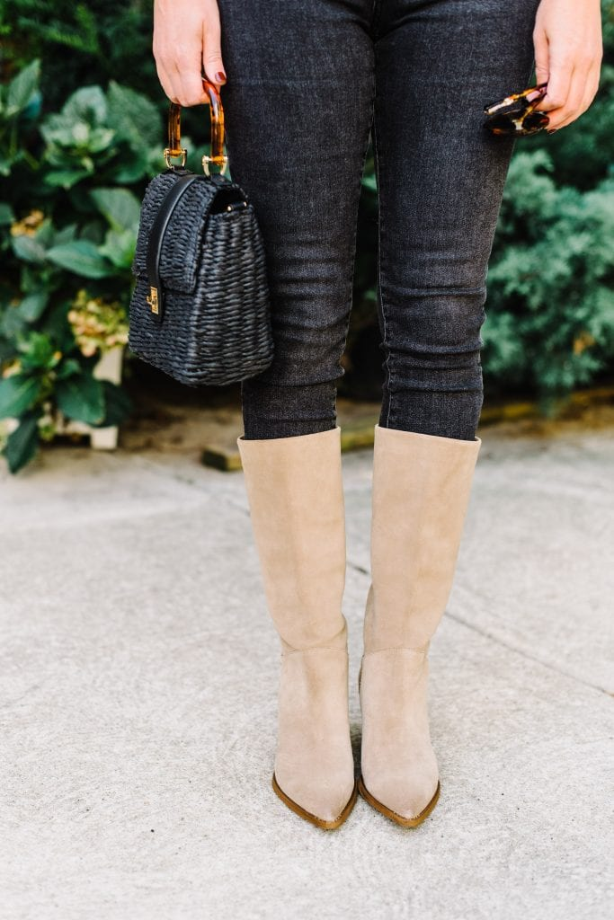 Are tall boots over skinny jeans in? Such a polarizing topic. When did tall boots over skinny jeans really die? We want to talk about tall boots over jeans.