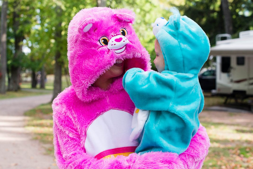 There's no shame in our family-matching game, so Care Bear costumes for the whole fam on Halloween are on point. They keep us warm + they're cute & comfy.