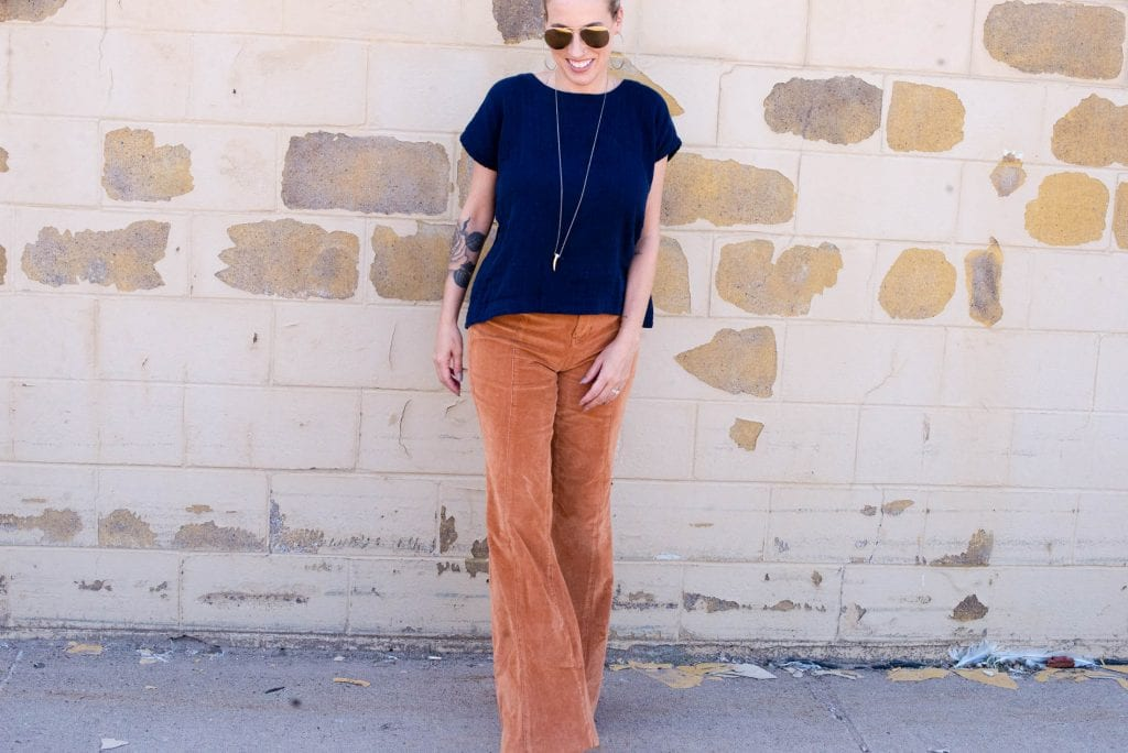 We can't get over these Free People CRVY cord flares in 1 of our fav fall colors: wild honey. We're pairing 'em with nursing-friendly tops, 5 ways.