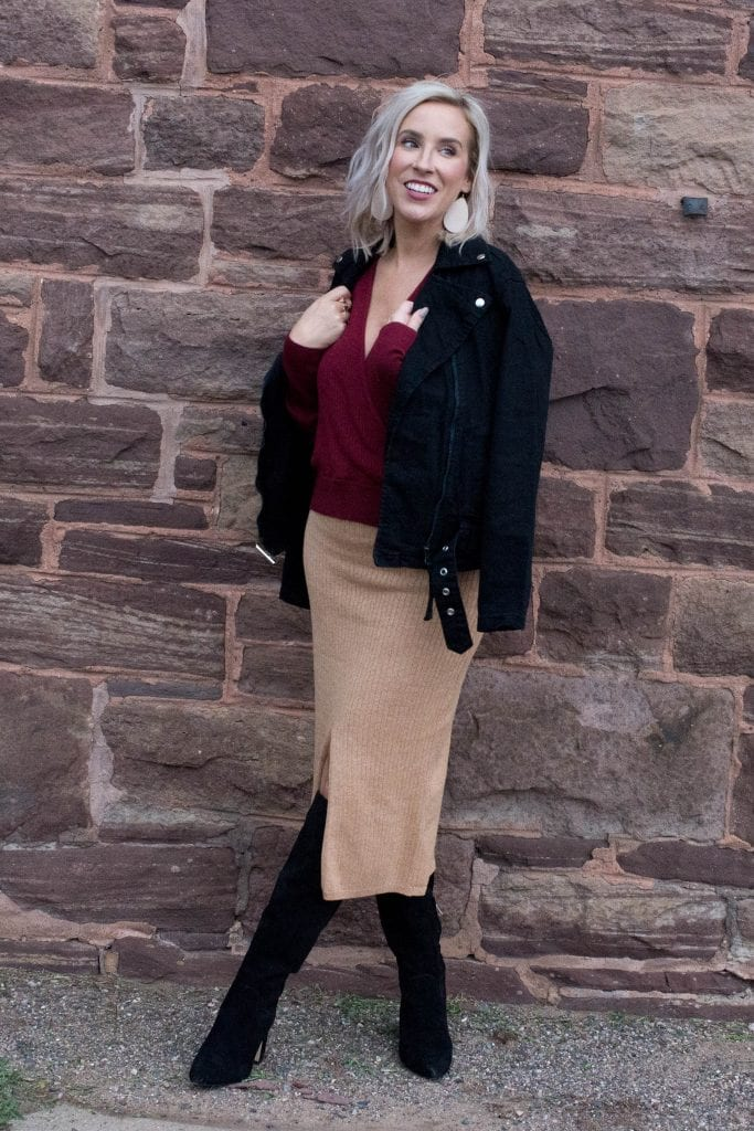 It's boots & dresses season. We're styling the cutest affordable ribbed midi skirt for date night. Denim moto jacket, knee high boots...Fall, we're comin'...