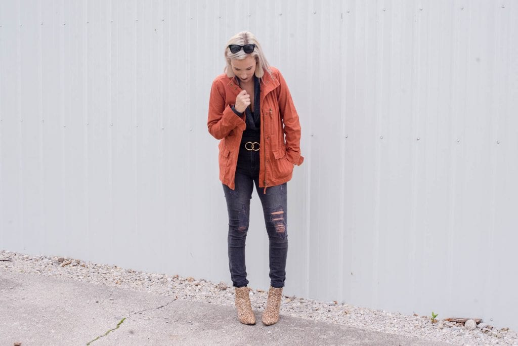 """We found a casual fall jacket SO GOOD, the color fits our mood: """"afterglow red."""" We're rockin' this unexpected field jacket as the perfect pop of color. Yes."""