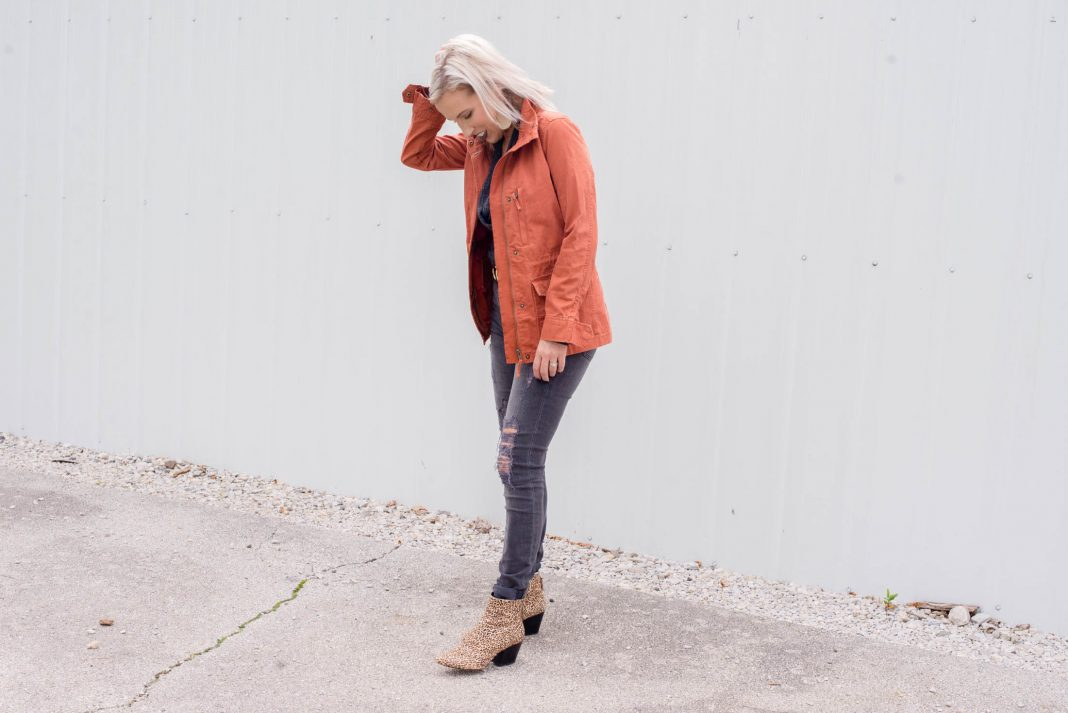 We found a casual fall jacket SO GOOD, the color fits our mood: