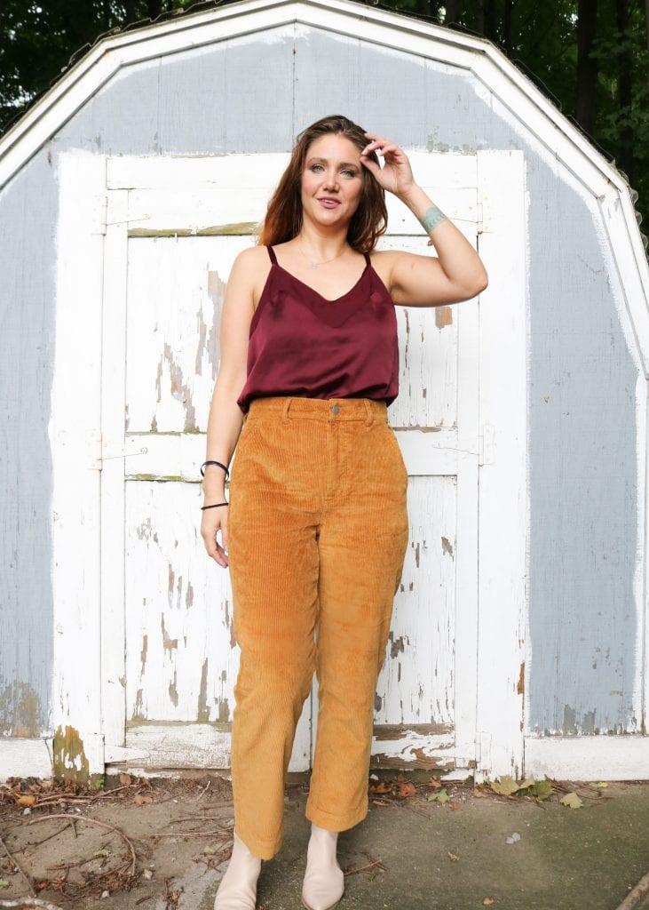 Autumn is calling us...with its rich colors...maroon, orange, gold, bone to be exact. We're styling corduroy pants & booties in fall color trends. SO GOOD.