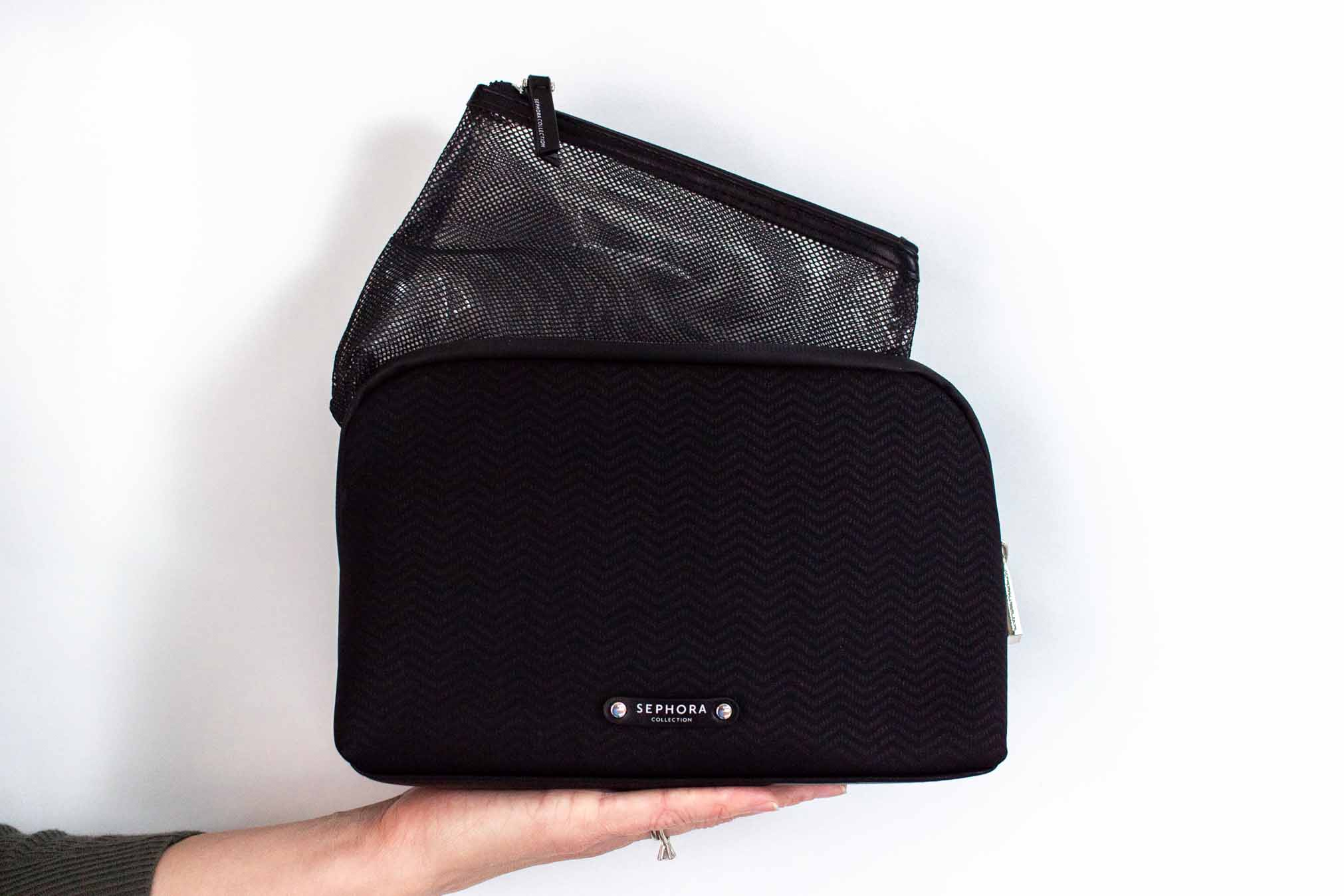 Sephora Nested Organizer Duo: What I like about this nested set is that it's big enough to hold all of my everyday products + it has a separate bag. I like to have certain things with certain things, so this is really perfect.