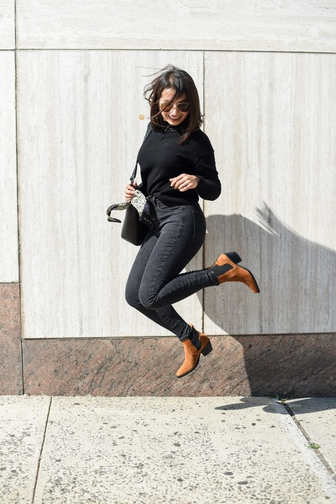 Found 'em! A pair of tan, western-inspired ankle boots for all seasons. We're styling these lovers from Everlane for 9 cool outfit ideas.