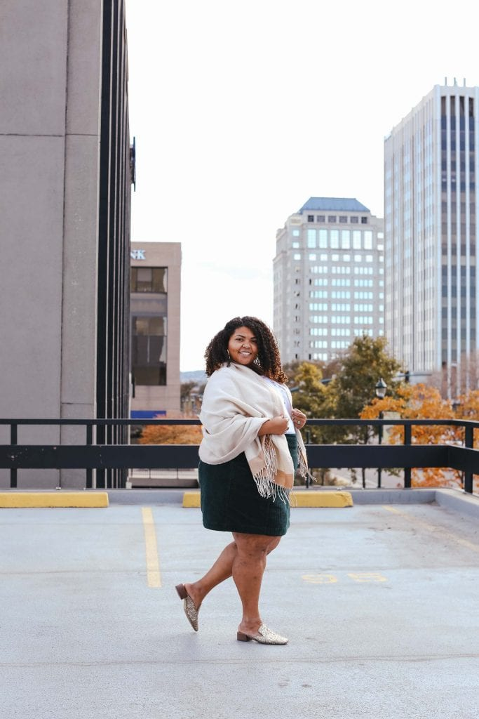I've finally found a plus size skirt that looks good on my. My current fav: the Slim Corduroy Velvet Mini Skirt from Anthro. Date night, holiday party perfection