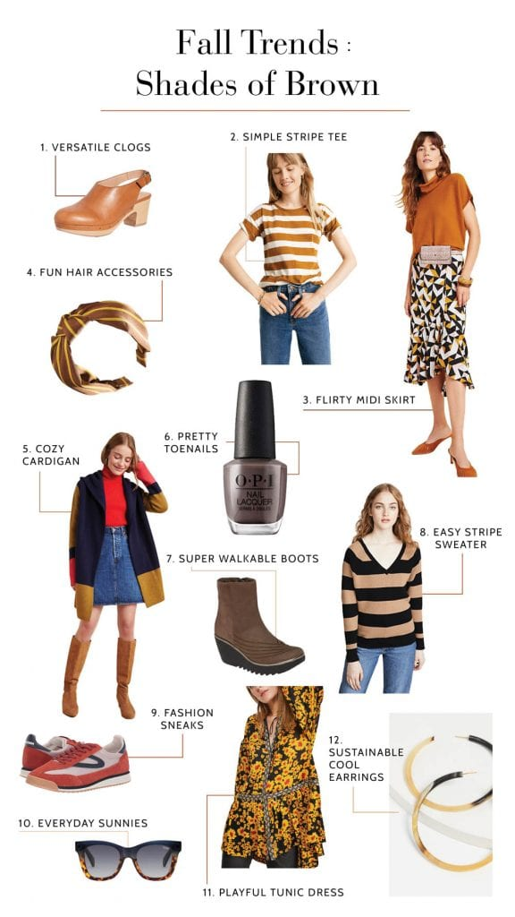 Brown & its warm-toned shades — goldenrod, honey, bronze, tan, camel — are colors we're calling out for fall trends: 12 items from our closet, here.