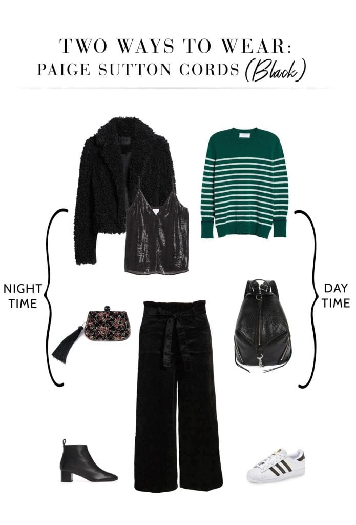 My fav PAIGE Sutton corduroy pants ARE BACk! BUT — they're in seriously good green & black colors now. 4 cute outfits for day & night, right here.