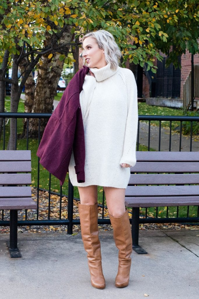 sweater dress with booties