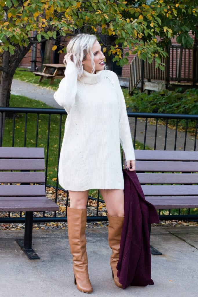 THIS —This sweater dress. The perfect fall & winter outfit. Soft. Not too tight. Wear it w/ bare legs or layer it over fun patterned tights, leggings or jeans.