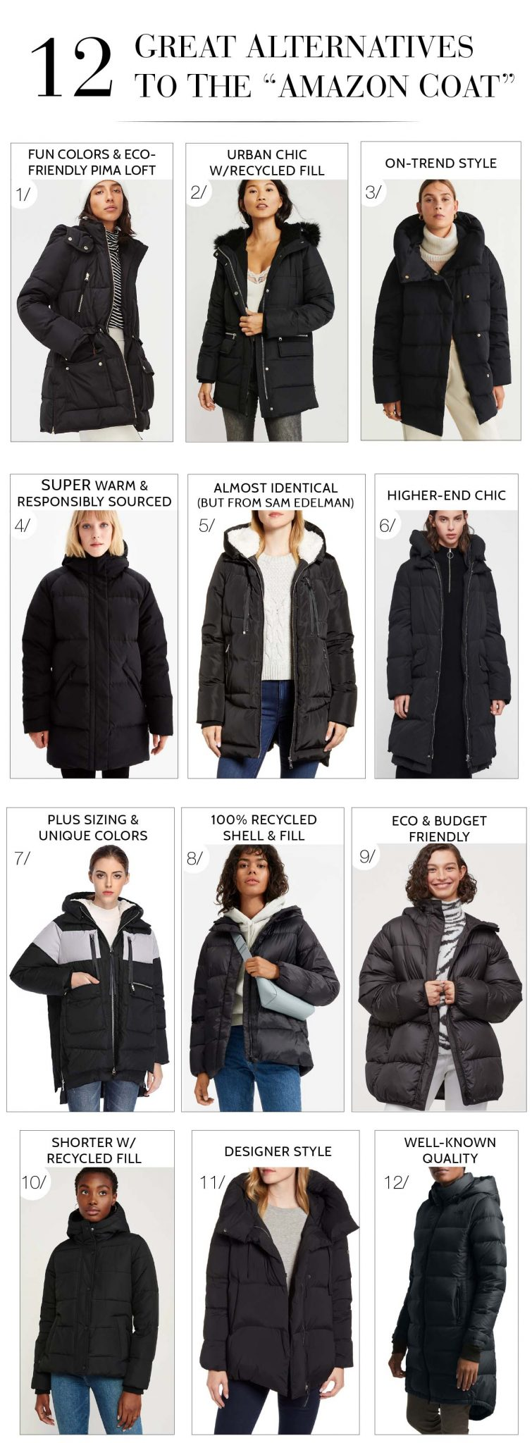 "So the Amazon Orolay thickened down jacket was ""THE COAT"" — the ""it"" coat — of 2019. BUT, we found 12 options (cool, sustainable, warm puffers). Try 'em."