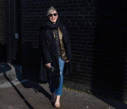 """Which way to the party? Current fall & winter outfit idea: fun statement jackets that say """"I'm festive-ready (& warm)!"""" Style with jeans + heels, done."""