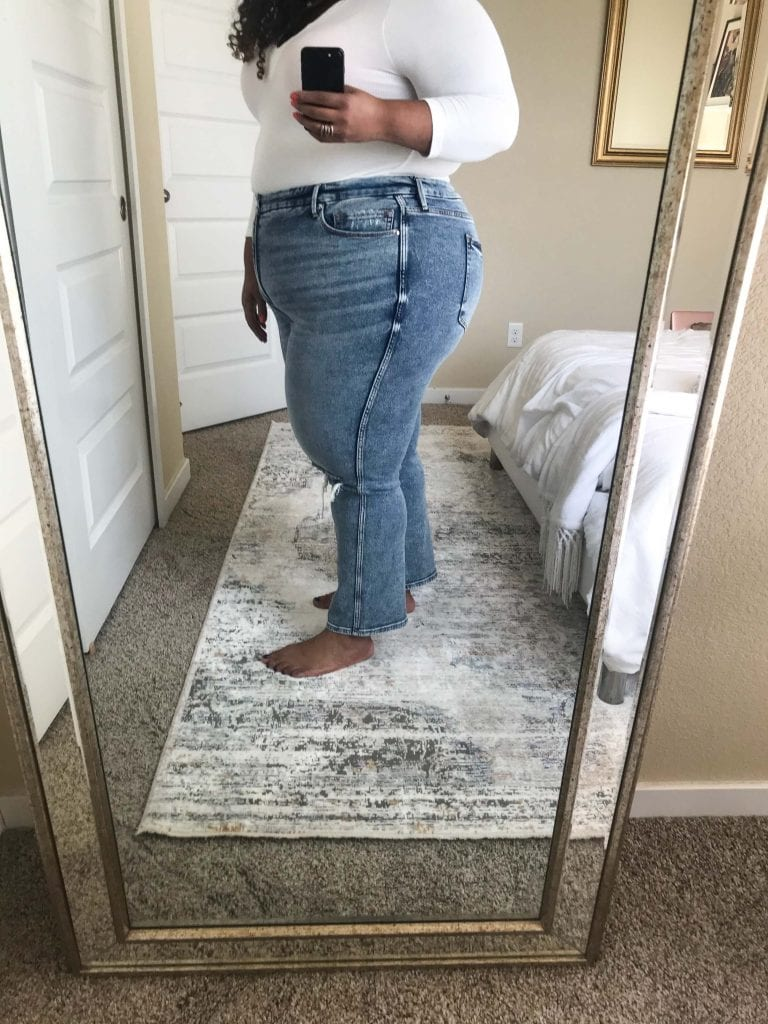 Straight leg jeans, twisted seams, flares...I've been raving about Good American denim for awhile. I bought a ton of GA jeans to try-on — results are here!