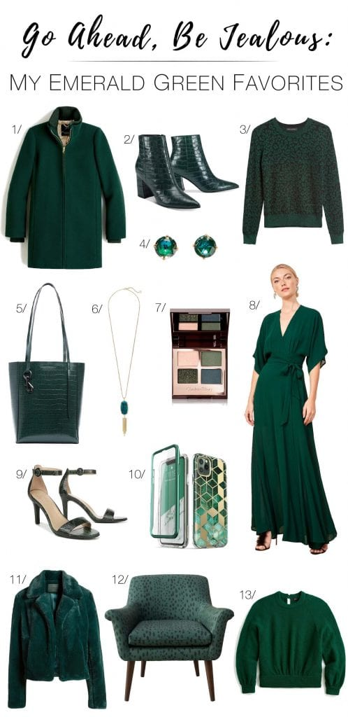 Emerald green pairs well with leopard, black, camel & gray. Emerald is insanely for fun holiday outfits that read seasonally festive, not too Christmasy.