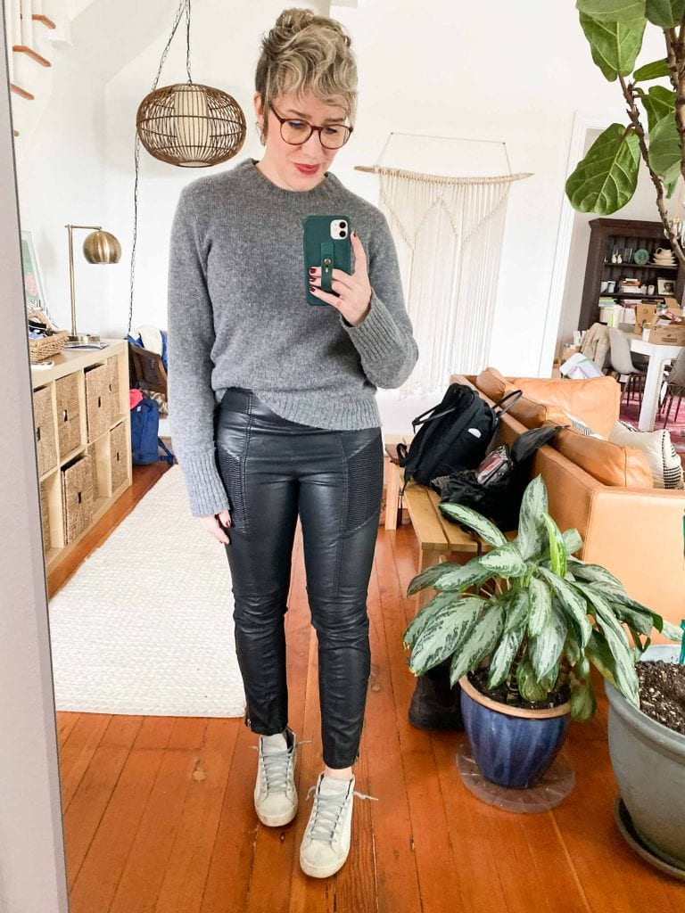 Faux leather leggings, coated jeans, killer jackets & cool skirts...we're heading into holiday party outfit ideas tough girl style. See how to wear it.