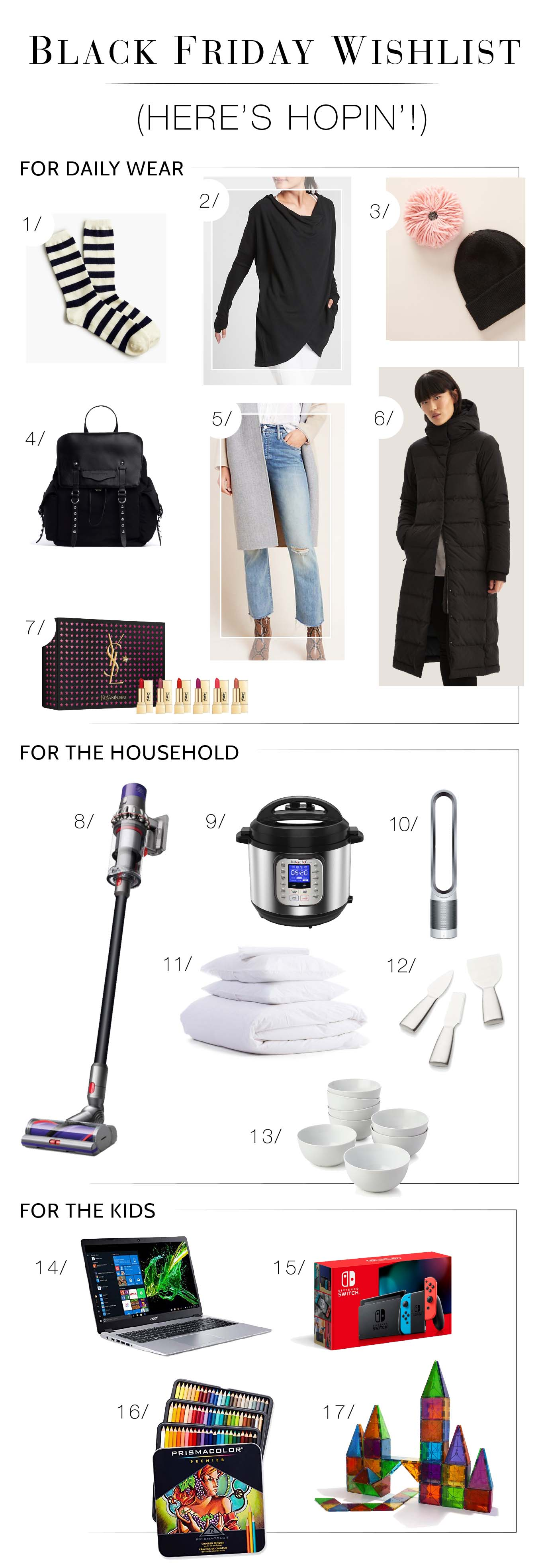 All things useful: daily outfits, household items & stuff for the kids. This Black Friday shopping wishlist is, uh, practical (but also fun:-). Here's hopin'.
