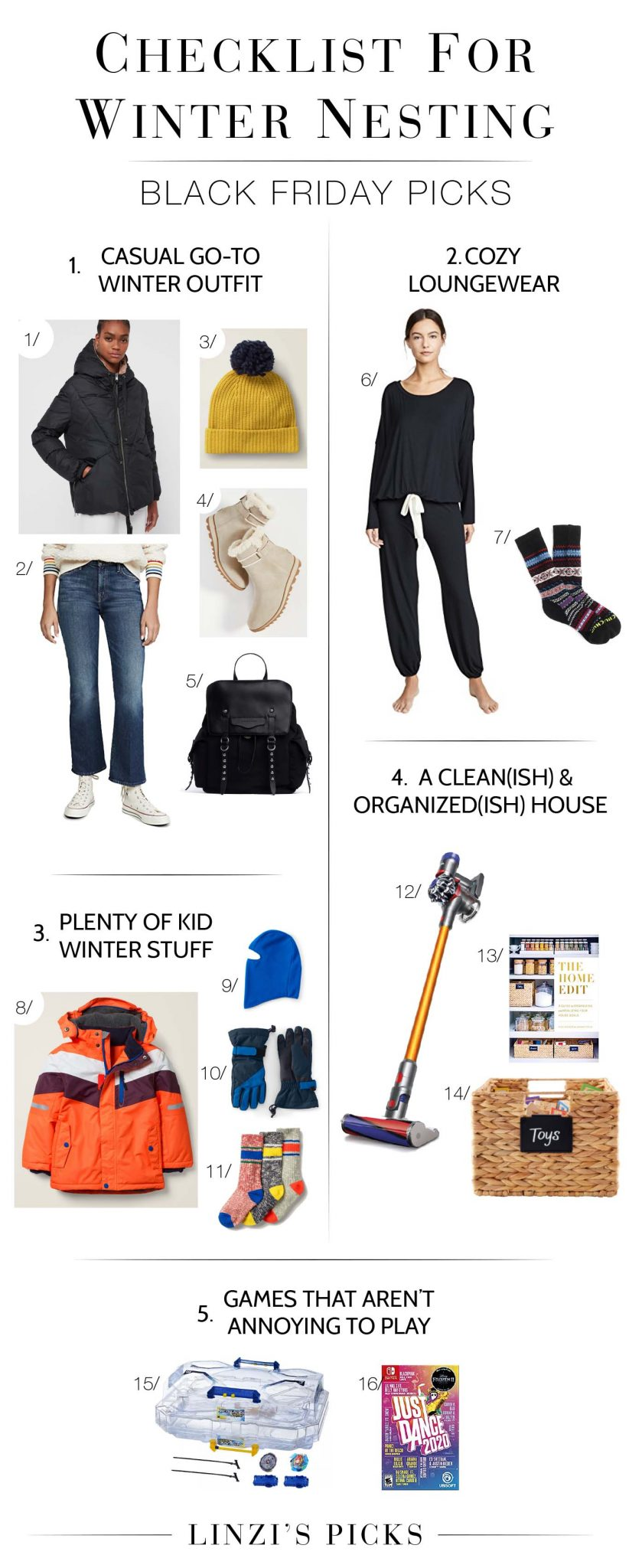 Black Friday is on! A ton of winter nesting items (casual outfits, cleaning inso) are on sale. Want good formula for winter-prep? Shop this checklist.