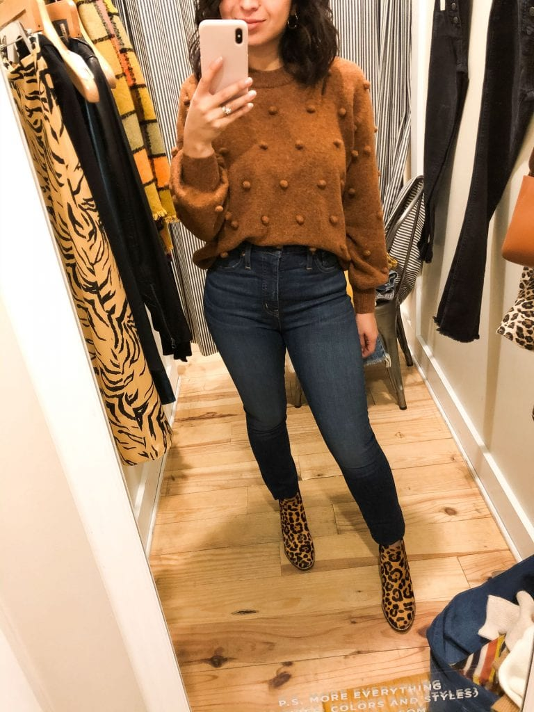 It's all happening — fall & winter outfit ideas, holiday party pieces...we're trying & styling at Madewell today — sweaters, curvy jeans, midi skirts...holla!