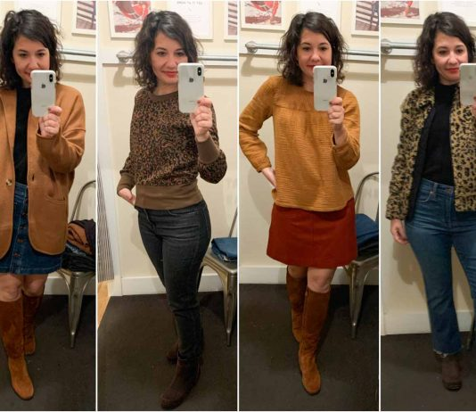 Curvy demi boot jeans, sweater blazers, leaopard bomber jackets & cashmere sweaters...Madewell is nailing it for fall, winter & holiday outfit ideas. #DressingRoomSelfies
