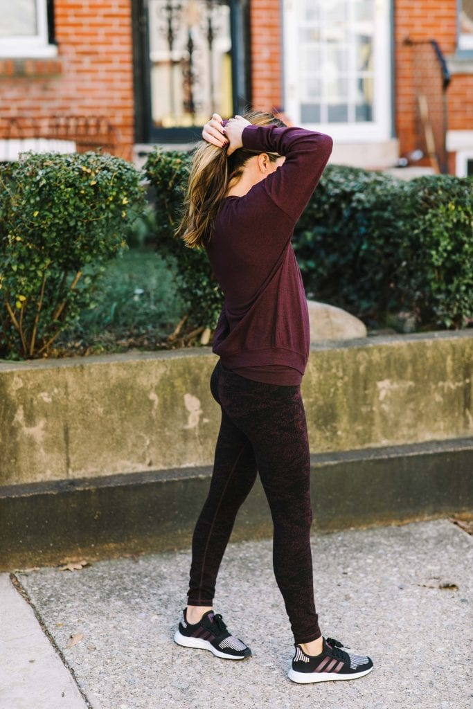 Athleta nailed it: oxblood leggings that are insanely comfy super supportive, made from recycled poly & easily as soft as my Beyond Yoga leggings (but sustainable & a fraction of the cost).