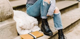 Combat boots, cute jeans, fuzzy jacket...Our daily go-to outfit. Casual but nice-looking, in that Maybe I'm Going Somewhere Or Maybe I'm Just Chic sort of way.