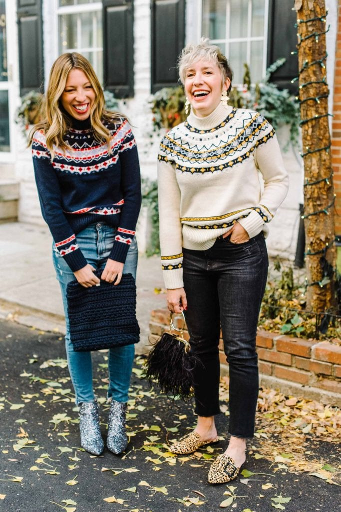 A casual outfit w/ party shoes. That's our jam. Fun sweaters, maybe Fair Isle, w/ ski vibes & color. Festive-Chic...not talking Ugly Sweater Party here.