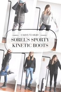 Sorel Kinetics are more of a sneaker/winter boot hybrid: comfy enough for city walking & warm enough to play in the snow. For travel, après-ski & daily.