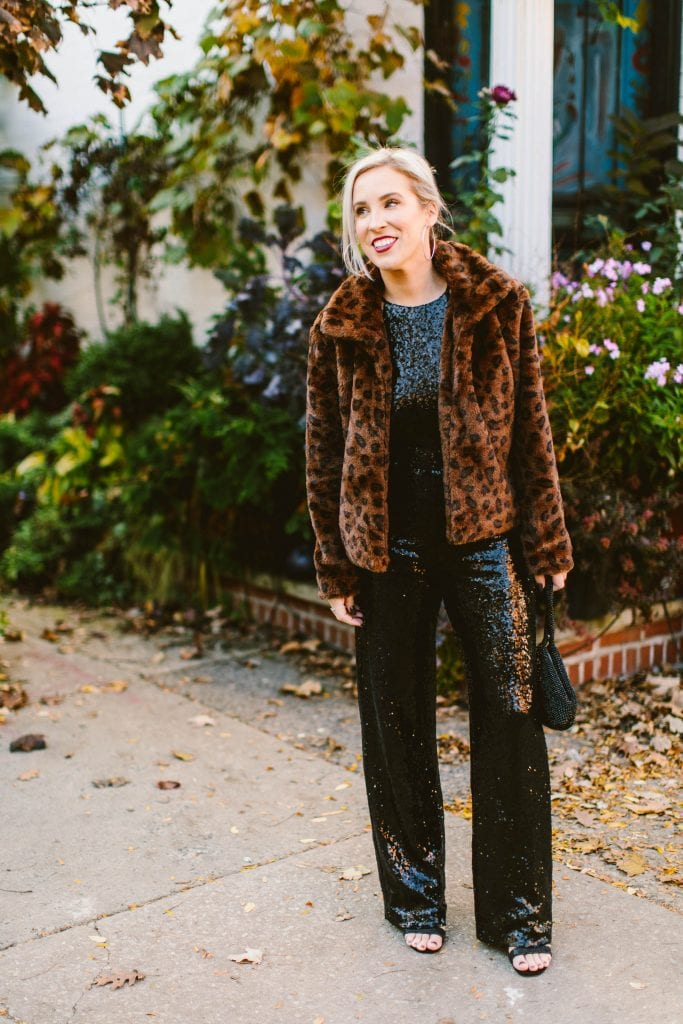 Glitter is our fave color. So for holiday party outfits, we're all about sequins, faux fur & animal print. Throw in a monochromatic look...& voom. SPARKLE.