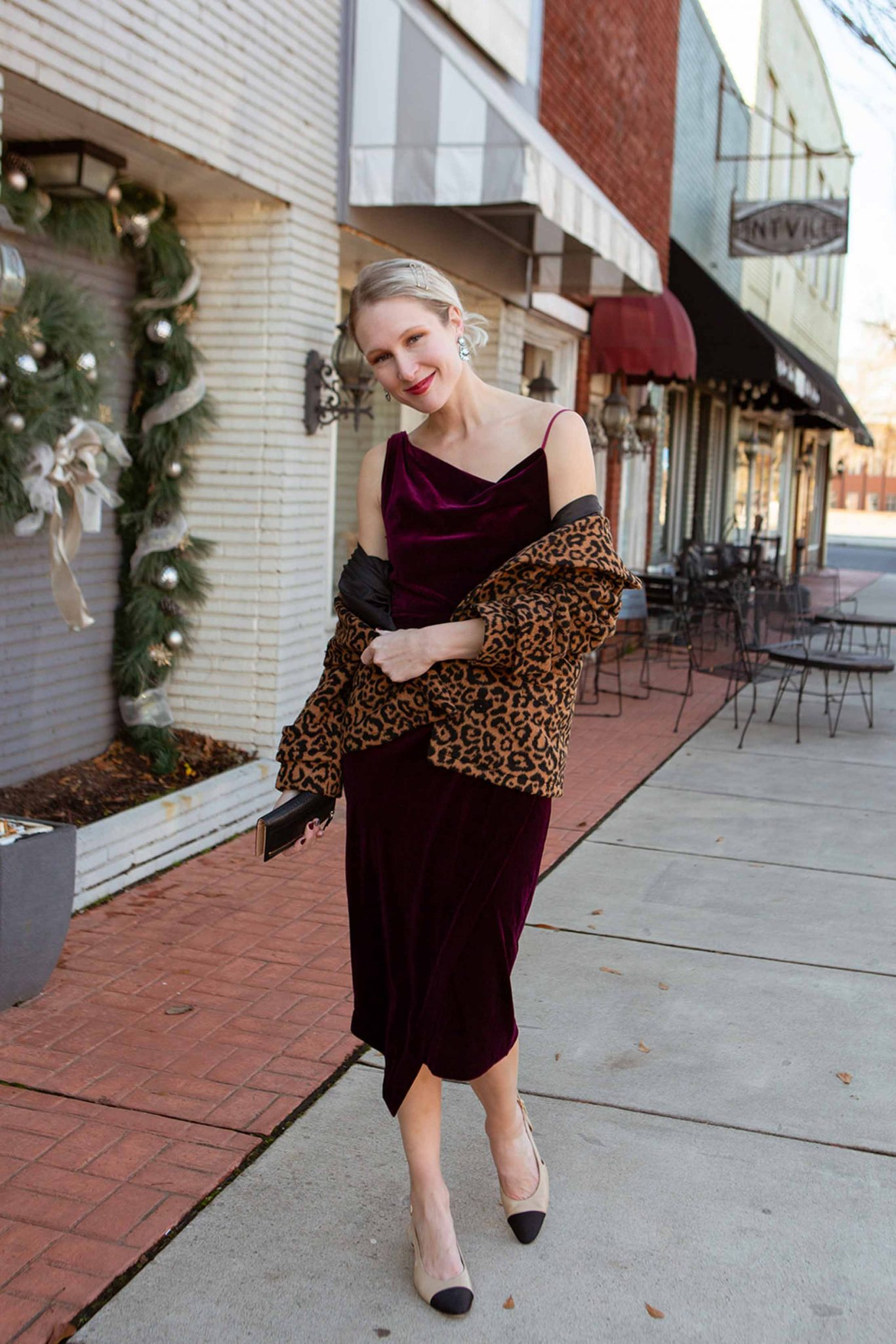 We found a beautifully draped, soft AF velvet dress & we're stying it 2 ways. Think ultra-chic w/ slingbacks & animal print OR edgy w/ Dr. Martens. YASSS.