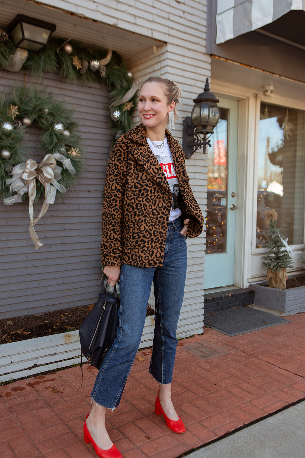 "Most anything casual, except maybe sweats & PJs (?), is worthy of festive occasions if ""trimmed"" & ""decked"" properly. Think band tees for holiday outfits."
