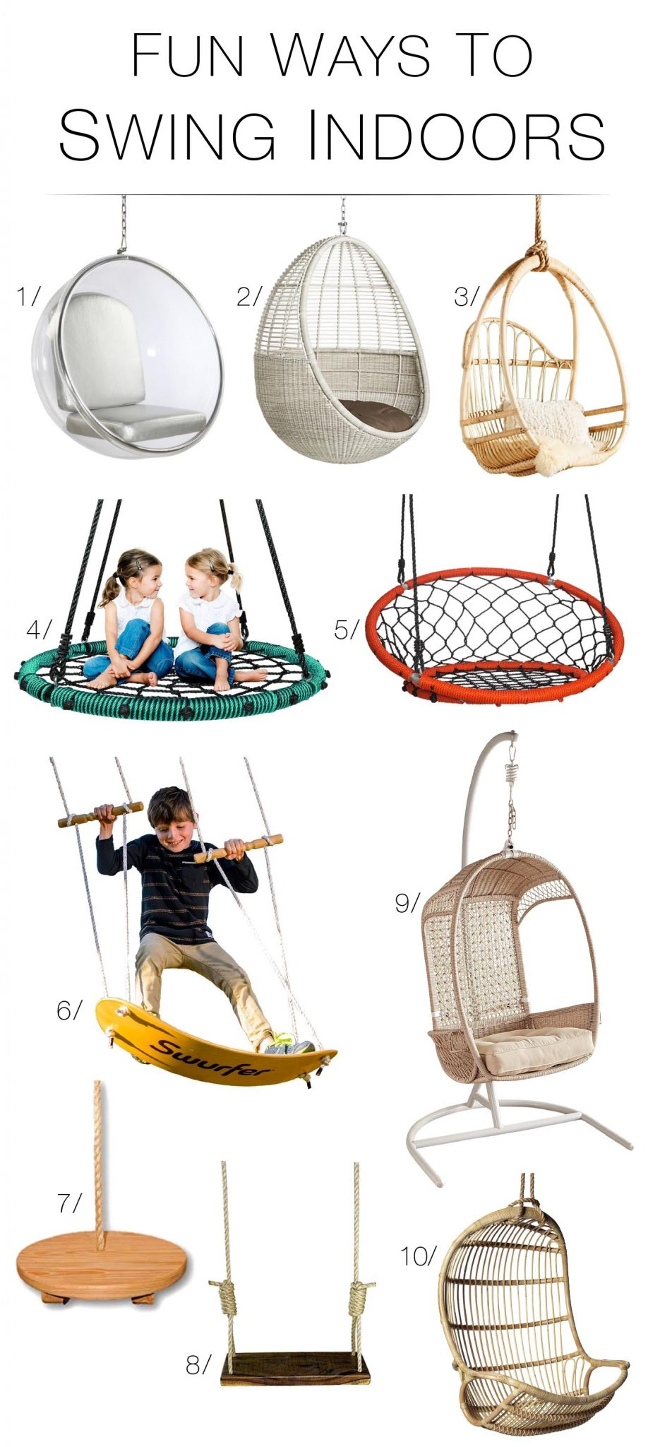 Hanging chair swings! We have 10 — for bedrooms, playrooms, patios & yards b/c, city living requires some creative liberties & what's more fun than swinging?