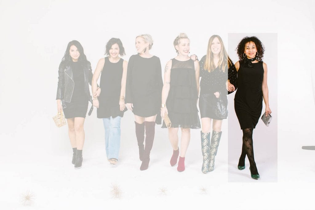 The ultimate style challenge: shop your closet & create new holiday party outfits. We're adding boots, jackets, tights & glam to our little black dresses.