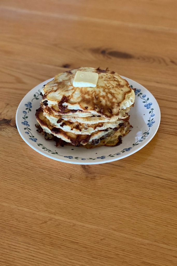 An easy recipe recently perfected by Mom: homemade cottage cheese pancakes. Like, omg-what-is-in-these??? kind of delicious. Make 'em like this.