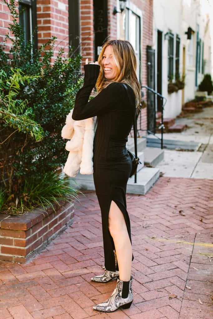 Found: a black midi dress that's sexy enough for winter date night...but easily looks casual w/ Doc Martens & a t-shirt. By Reformation, a sustainable brand.